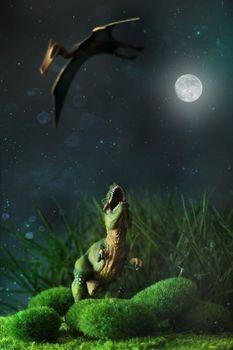Tyrannosaurus fighting with a prehistoric flying bird