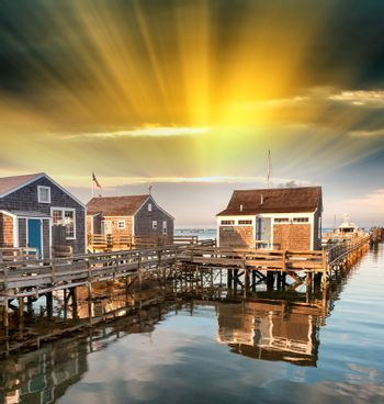 Beautiful homes of Nantucket, Massachusetts. Houses over water a