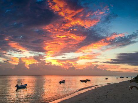 Wonderful sunset in Maldives Islands.