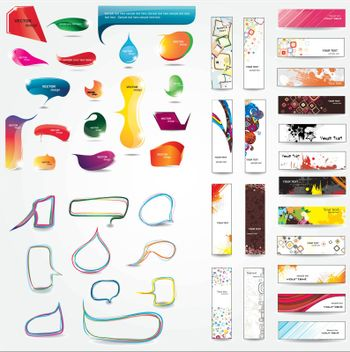 Illustration with a set of colorful and abstract banners.