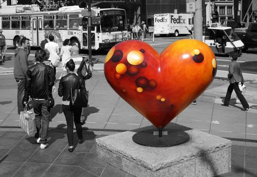 San Francisco, CA, USA - September 14, 2011: This landmark in Union Square is part of the Hearts in San Francisco project which is intended to help The San Francisco General Hospital
