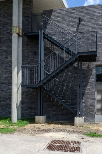 Metal fire escape on the external wall