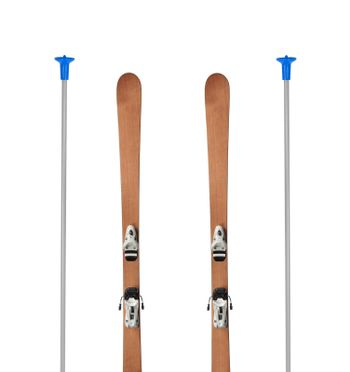 wooden alpine skis isolated