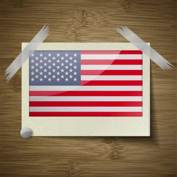 Flags USA at frame on wooden texture. Vector