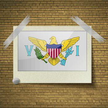 Flags VirginIslandsUSat frame on a brick background. Vector