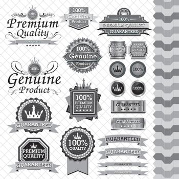 """Set of labels with the text or message """"premium quality""""."""