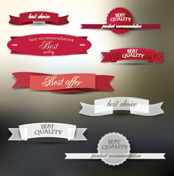 "Set of labels with the text or message ""premium quality""."