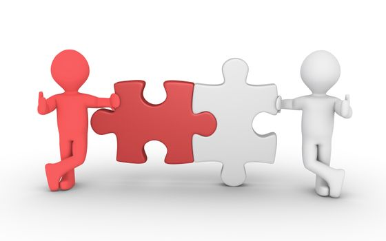 Two different persons and two puzzle pieces of different color are connected