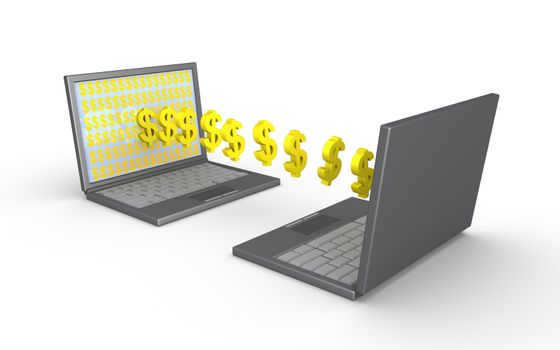 Two laptops and dollar symbols are going from one screen to the other