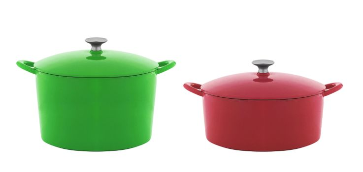 green and red saucepan isolated