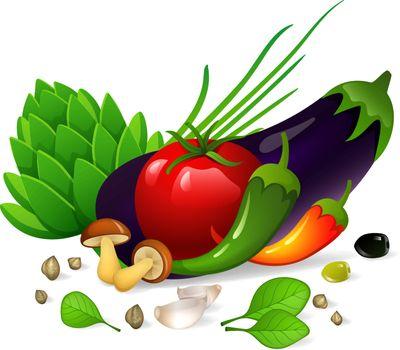 Vector illustration of Vegetables set on white background