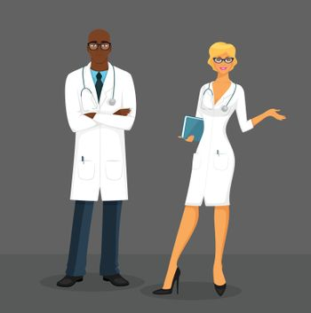 Vector illustration of Man and woman doctors
