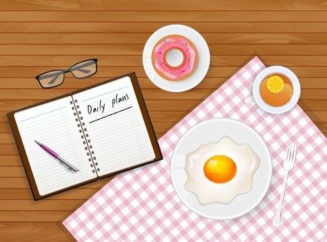 Vector illustration of Tasty breakfast with tea and egg