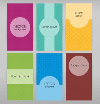 Vector illustration of Cards with geometric patterns