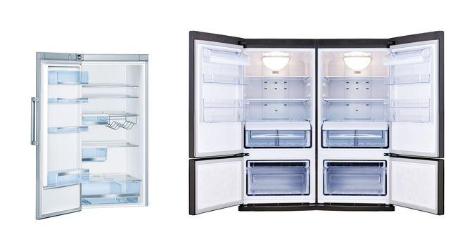 Refrigerators with open doors isolated