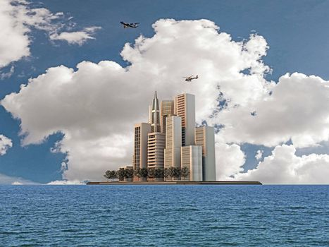 modern buildings on a smartphone island