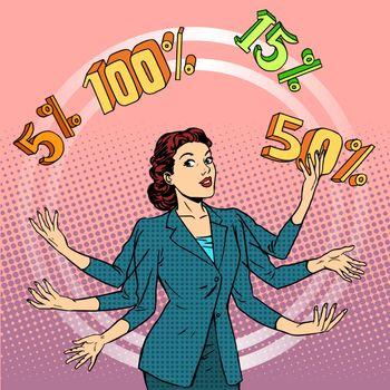 Promotions discounts sale businesswoman juggling cent