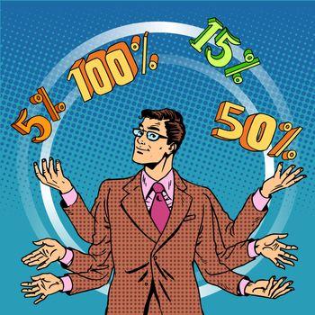 Promotions discounts sale businessman juggling cent