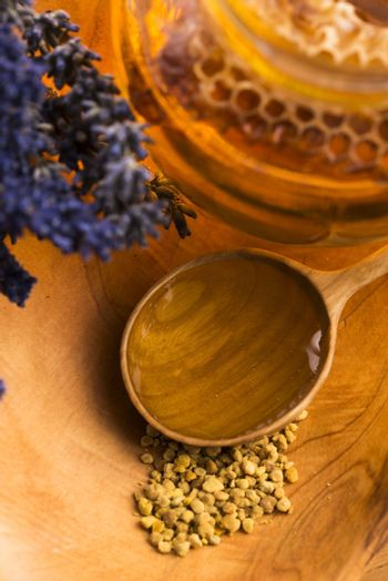 Lavender honey with bee pollen and honey comb
