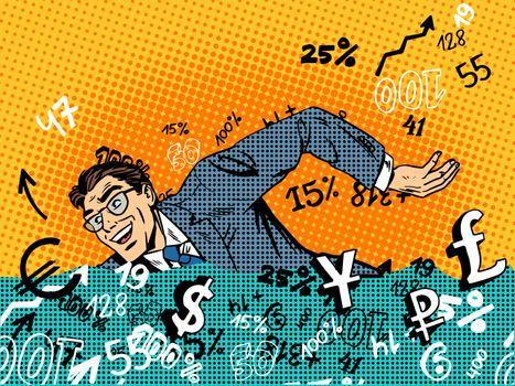 Businessman swimming money business concept finance banks market