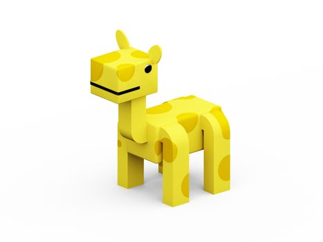 giraffe 3d low polygon isolate on white background