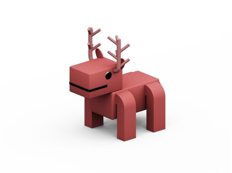 deer 3d low polygon isolate on white background