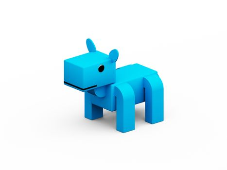 Horse 3d low polygon isolate on white background