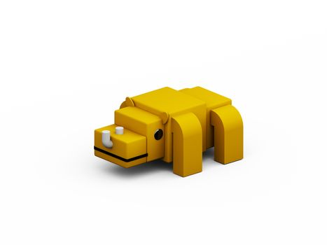 rhino 3d low polygon isolate on white background