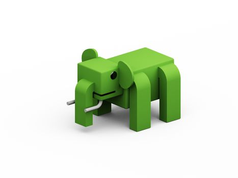 elephant 3d low polygon isolate on white background