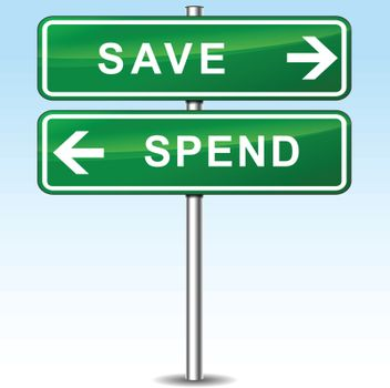 illustration of save and spend directions sign