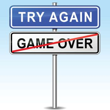 illustration of try again road sign direction