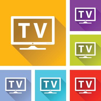illustration of colorful square tv icons set