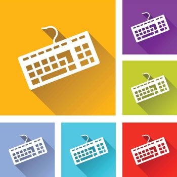 illustration of colorful square keyboards icons set