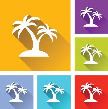 illustration of colorful square palm tree icons set