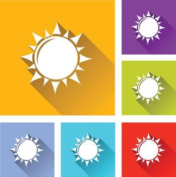 illustration of colorful square sun icons set