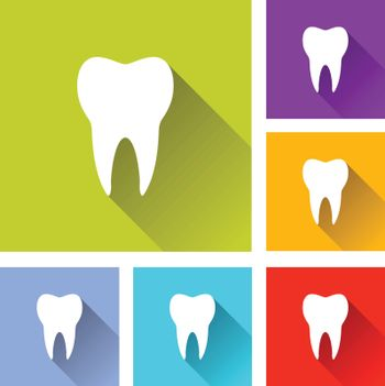 illustration of colorful square tooth icons set