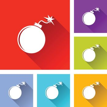 illustration of colorful square bomb icons set