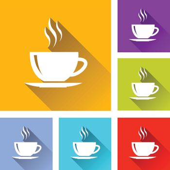 illustration of colorful square coffee icons set