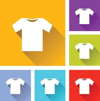 illustration of colorful square tee shirt icons set