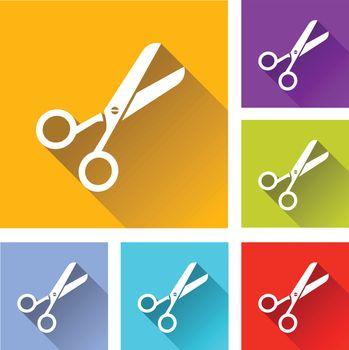 illustration of colorful square scissor icons set