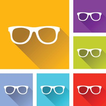illustration of colorful square glasses icons set