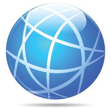 illustration of blue globe on white background