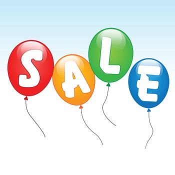 illustration of sale word writing on balloons