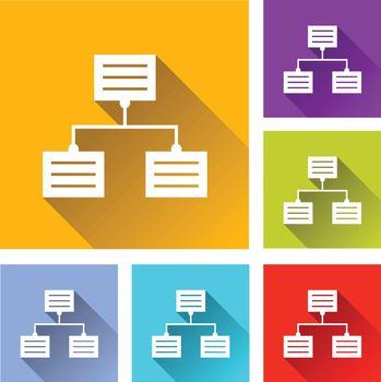 illustration of colorful square analytics icons set