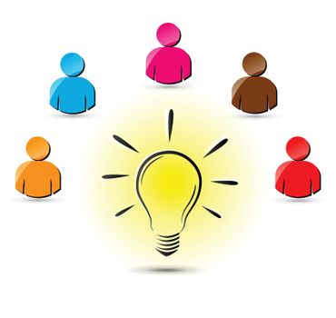 illustration of lightbulb with some people around