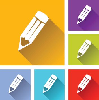illustration of colorful square pencil icons set