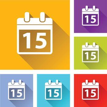 illustration of colorful square calendar icons set