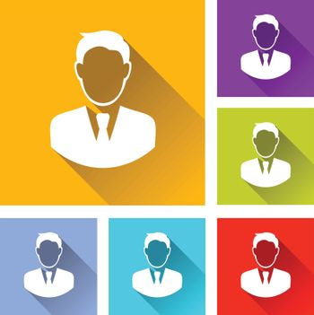 illustration of colorful square businessman icons set