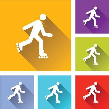 illustration of colorful square rollerskate icons set