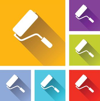 illustration of colorful square paint roller icons set